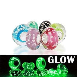 Bling Jewelry Set of Six assorted Bundle Glow in the Dark Speckled Murano glass Charm Bead .925 Sterling Silver