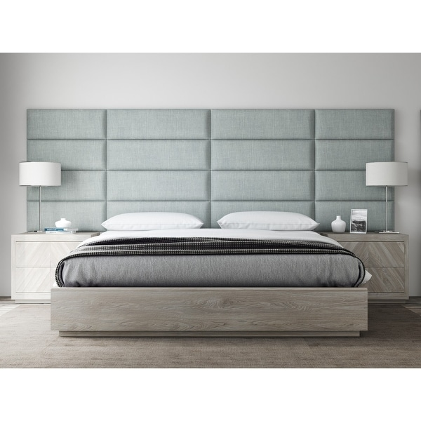 """VANT Upholstered Headboards - Accent Wall Panels - Packs Of 4 - Textured Cotton Weave Ash Gray - 39"""" Wide x 11.5"""" Height."""