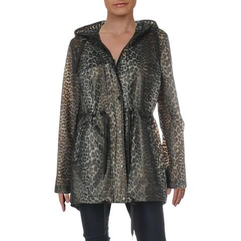 Aqua Womens Raincoat Animal Print Lightweight - Leopard