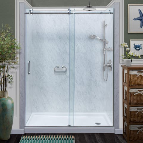 """Miseno MSDCFL6076 76"""" High x 60"""" Wide Frameless Sliding Shower Door with Clear 3/8"""" Glass and H2OFF Technology -"""