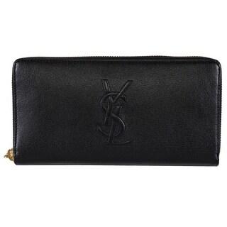 """Saint Laurent YSL 352904 Black Leather Belle de Jour Zip Around Wallet - 7.5"""" x 4"""""""