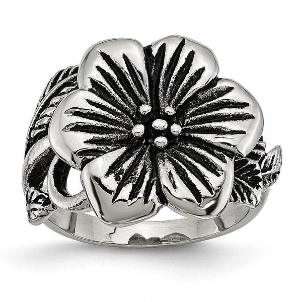 Stainless Steel Antique Finish Flower Ring (4 mm)