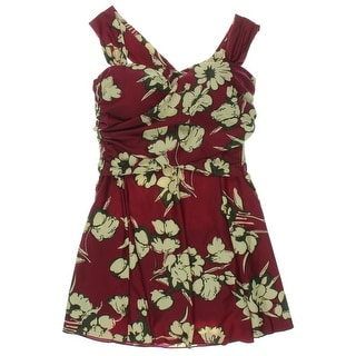 COCOPEAR Womens Floral Print Halter Swimdress - L