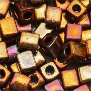 Miyuki 4mm Glass Cube Beads 'Metallic Bronze Iris' 462 10 Grams