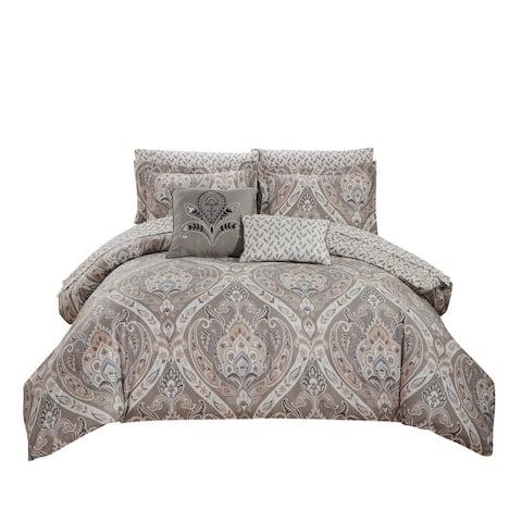 Tisdale 9-Piece Damask Printed Reversible Comforter and Sheet Set