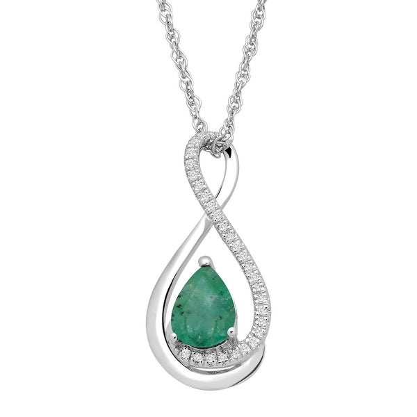 5/8 ct Natural Emerald Pendant with Diamonds in Sterling Silver