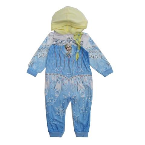 Girls Light Blue Elsa from Frozen 1pc Hooded Zip Up Pajamas