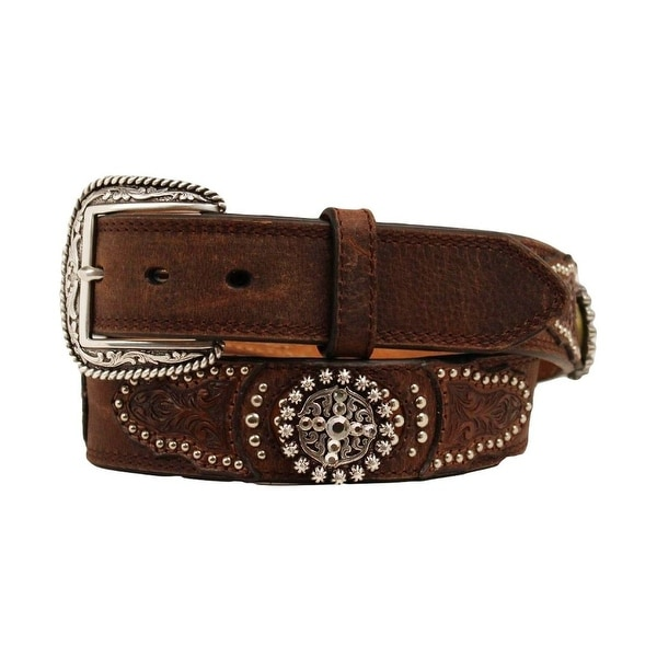 Ariat Western Belt Mens Leather Conchos Studs Brown