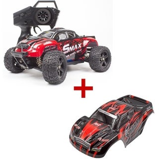 REMO 1/16 Scale RC Bigfoot Truck 4WD Remote Control Car Off-Road Vehicle with Extral Car Shell Blue/Red Gift (Red)