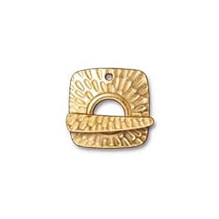 TierraCast 22K Gold Plated Pewter Textured Radiant Toggle Clasp 22mm (1)