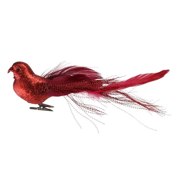 "8"" Crimson Red Glittered Bird Figure Clip-On Christmas Ornaments"