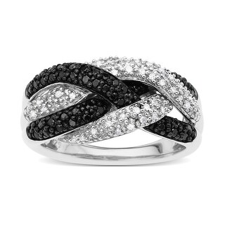 1/2 ct Black and White Diamond Ring in Sterling Silver - Size 7