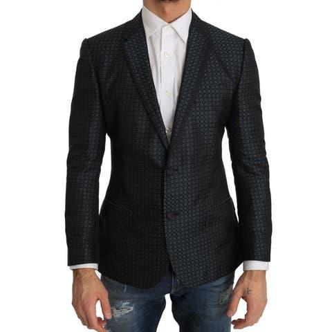 Dolce & Gabbana Blue Pattern Silk Slim Fit Blazer Men's Jacket - it48-m