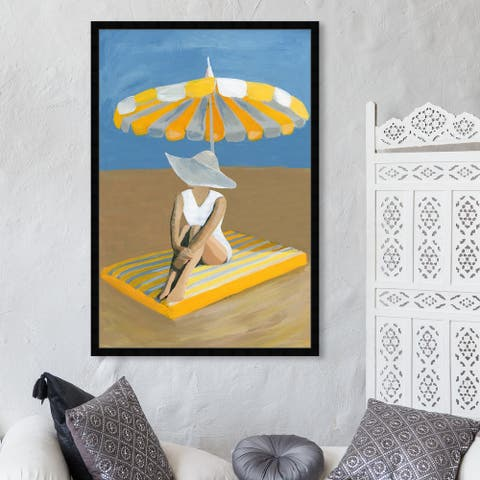 Oliver Gal 'Yellow Umbrella' Fashion and Glam Wall Art Framed Print Swimsuit - Yellow, Blue