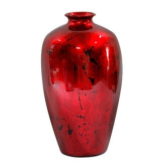 "21"" Foiled & Lacquered Ceramic Vase  In Red"