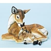 "11"" Winter Wonderland Laying Deer and Fawn Christmas Table Top Decoration"