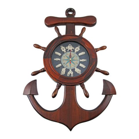Wooden Ships Wheel / Anchor Sailors Knot Wall Clock - 17.5 X 12 X 2 inches