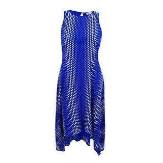 MICHAEL Michael Kors Women's Printed Handkerchief-Hem A-Line Dress (Royal, 16) - 16