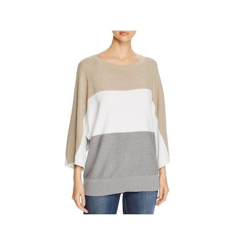 Lafayette 148 New York Womens Pullover Sweater Colorblock Dolman - Soba Multi - XL