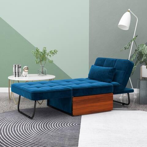 Furniture of America Hattie Assembled Convertible Cocktail Ottoman-Futon