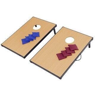 Gymax Foldable Wooden Bean Bag Toss Cornhole Game Set Boards Tailgate - as pic