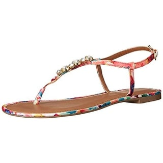 Wild Pair  Womens Camino Thong Sandals Faux Leather T-Strap