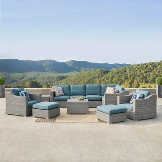 Link to Corvus Martinka 11-piece Grey Wicker Outdoor Sectional Sofa Set with Blue Cushions Similar Items in Outdoor Sofas