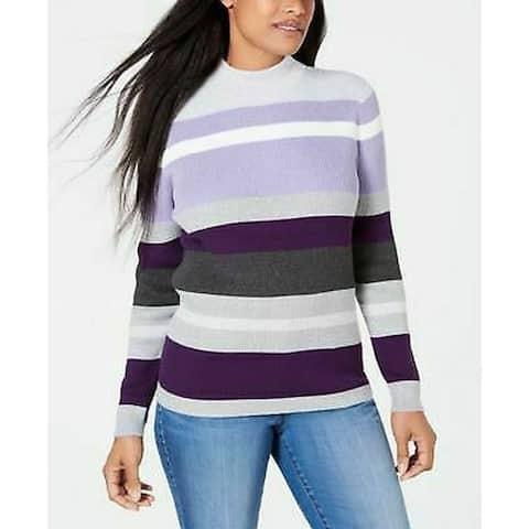 Karen Scott Women's Ribbed V-Neck Cotton Sweater Purple Size Large