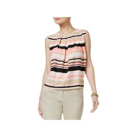 Tommy Hilfiger Womens Blouse Striped Pleated
