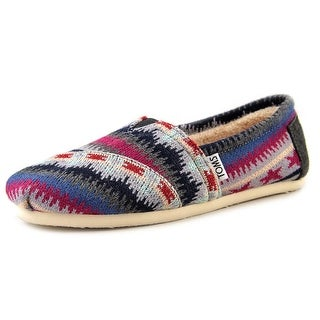 Toms Multi Knit Shearling Classics Women  Round Toe Canvas Multi Color Loafer