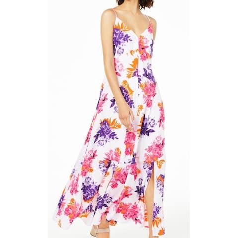 BAR III Women's Dress Purple Size 4 Maxi Floral Split Front V-Neck