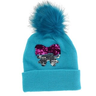 Alexa Rose Girls' Sequins Cuff Beanie Hat with Pom