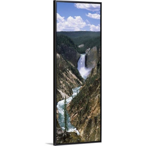 """""""River, Artist Point, Yellowstone River, Yellowstone National Park, Wyoming"""" Black Float Frame Canvas Art"""