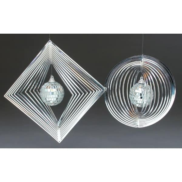 Set of 2 Silver Spiral Disco Ball Christmas Ornaments