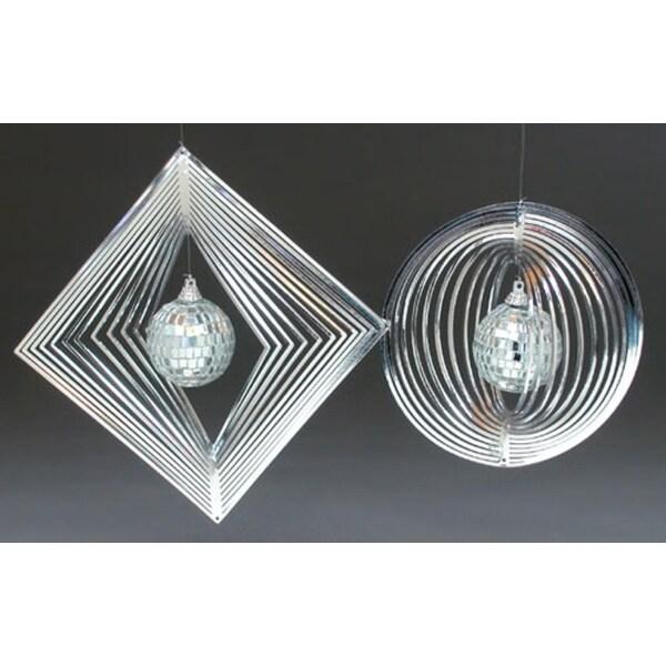 Set of 2 Silver Spiral Disco Ball Christmas Ornaments