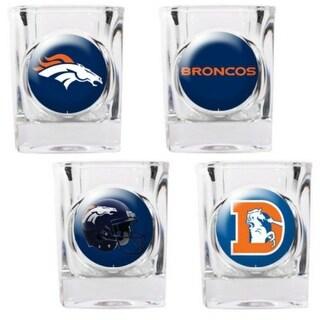 """Great American Products Denver Broncos Shot Glass Set 4pc Collectors Shot Glass Set"""