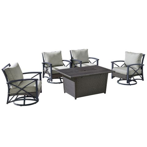 OVE Decors Bentley III 5-Piece Aluminum Frame Patio Chat Set with Grey Olefin Cushions