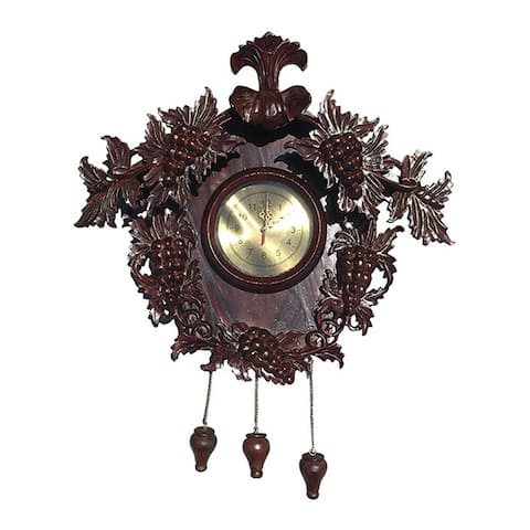 Offex Traditional Hand Crafted Mahogany Wood Grape Carved Clock - Dark Brown