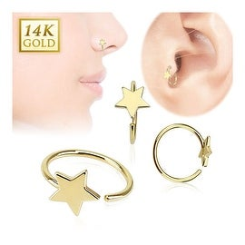 14 Karat Solid Yellow Gold Star Hoop Ring (Sold Ind.)