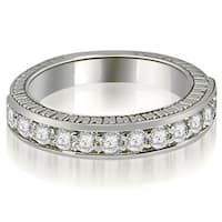 0.60 CT.TW Antique Prong-Set Round Cut Diamond Wedding Band in 14KT Gold - White H-I