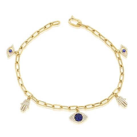 Diamond Evil Eye Charm Bracelet Blue Sapphire 14k Gold by Joelle Collection