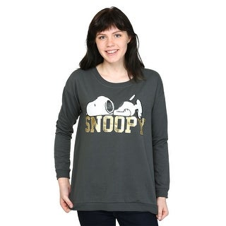 Womens Peanuts Snoopy Gold Foil French Terry Pullover - M