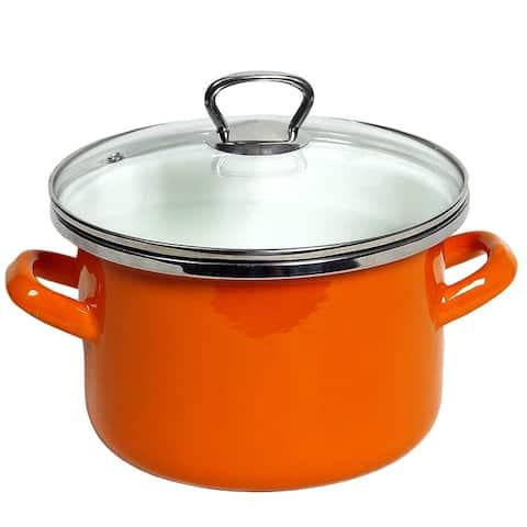 STP Goods Orange Dot Enamel on Steel 4.2-quart Pot with a Glass Lid