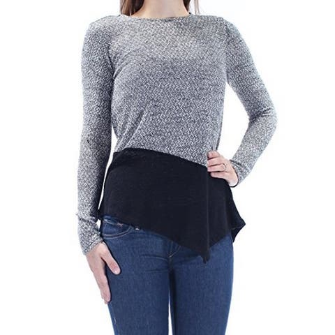 Bar III Womens Colorblock Long Sleeves Pullover Sweater Black M - Medium
