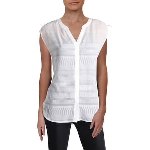 French Connection Womens Denia Button-Down Top Sheer Side Slit