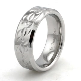 Hand Carved Polished White Tungsten Ring w/ Tribal Design
