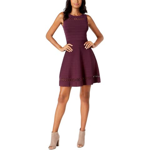 French Connection Womens Cutout-Trim Bubble Fit & Flare Dress