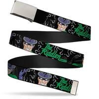 Blank Chrome Buckle The Riddler W Batman Silhouette Webbing Web Belt