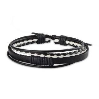 Zodaca Unisex Black/ White Plait Fashion Handmade Multi-strip Leather Braided Bracelets