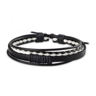 Zodaca Unisex Black/ White Plait Fashion Handmade Multi-strip Leather Braided Bracelets